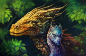 Glaedr and Saphira by Roklain