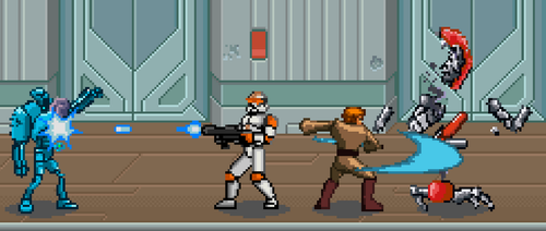Jedi and Clone fighting by BeeWinter55