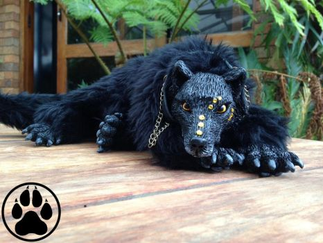 --SOLD-- Black wolf soft-bodied doll/sculpture by CreaturesofNat