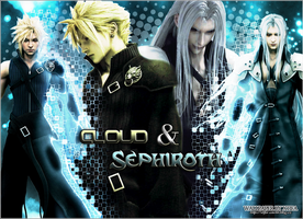 Cloud and Sephiroth wallpaper by ladylucienne