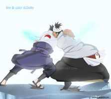 danzou vs sasuke fight color by eldanysir