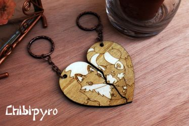 Wooden keychain fox and red panda by ChibiPyro