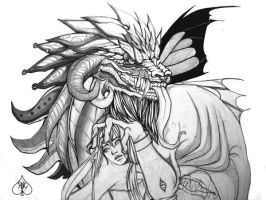 Old Drawings - Dragon VI by AnimantX