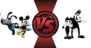 Epic Mickey and Oswald VS Bendy and Boris! by rockeyrolley