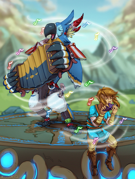 BotW: Playing with Kass by sapphiregale