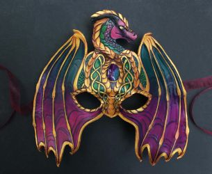 Knotwork Dragon Leather Mask by windfalcon