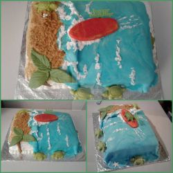 Surfing Seaturtles Beach Birthday Cake by InkArtWriter