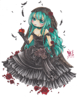 Black Vow: Miku Wedding Dress by BB-Schwarz