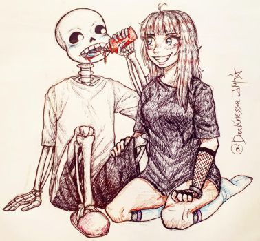 Sans and me by Raphaela-jm