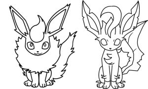Flareon And Leafeon Coloring Page By Bellatrixie White