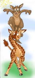 Kangaroo and giraffe by Phoeline