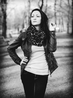 Ivana, sunset in park BW II by Zavorka