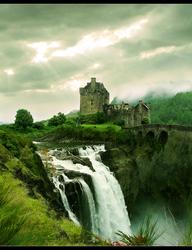 Castle at waterfall by McSlither