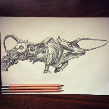Steampunk Bull, Sketch of a Sculpture in Shanghai by viperoni