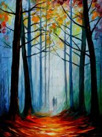 Wise forest by Leonid Afremov by Leonidafremov