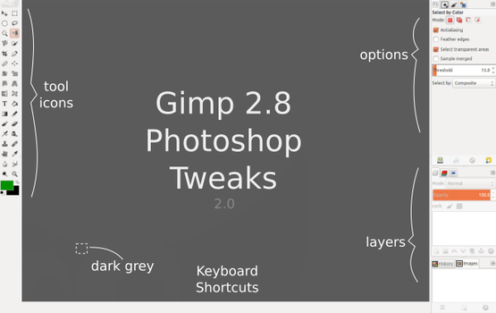 Gimp 2.8 Photoshop Tweaks by doctormo