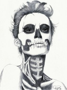 Black Ballpoint Zombie Girl by Cindy-R