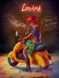 Lesama and her vespa by EdsArtFactory