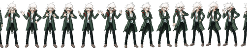 Nagito Komaeda Full Body Sprites by Dannycup123
