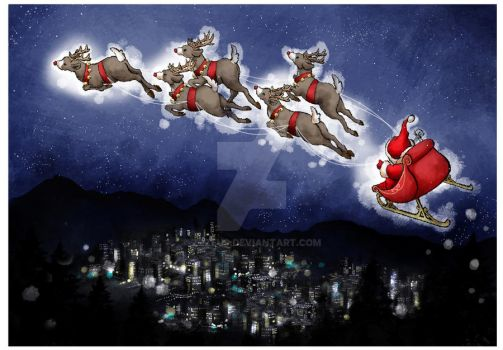 Santa's busy evening by Zzzeus