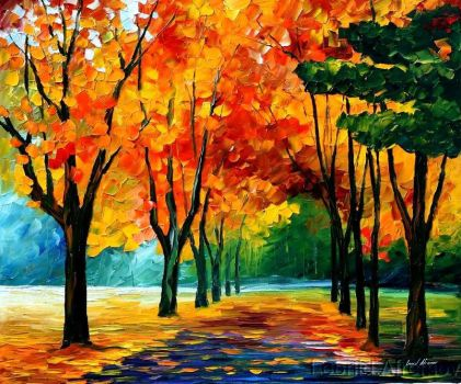 FALL BLUES by Leonid Afremov by Leonidafremov