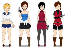 Resident Evil girls PS1 Era by TheLastGallant