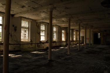Abandoned hall of the asylum by C-Asepsis