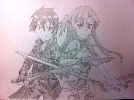 Asuna and Kirito -SWORD ART ONLINE- by spectra6234