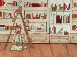 [COM] Books, Cats, and Coffee by ambue