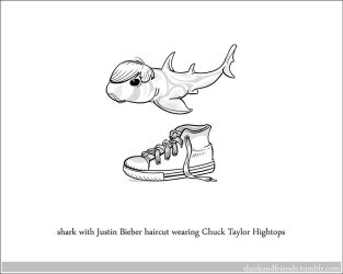 Shark with a Justin Bieber haircut wearing chucks by Wenamun