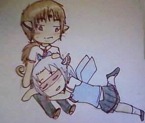 Chibi Couple Commission: Airi and Rafael by Angel-of-the-Lore