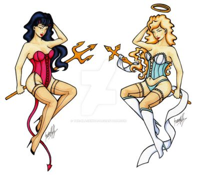 Pin-Up Sisters tattoo by The-Blackwolf
