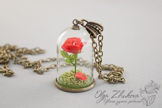 Pendant with a red rose from the cold porcelain by polyflowers