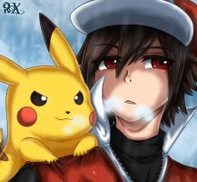 Red and Pikachu by FenRox