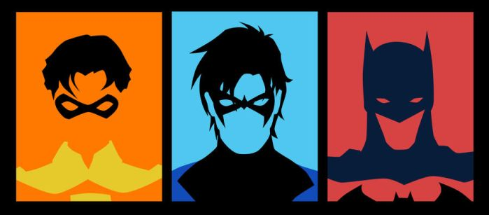 Evolution of Dick Grayson minimalist by phil-cho