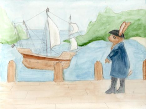 Captain Rabbit Ears and boat by rockslide
