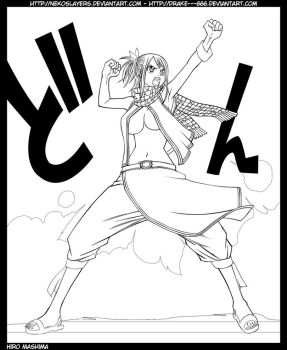 Natsu as Lucy lineart by drake---666