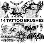 14 high res tattoo brushes for Photoshop by Brushportal