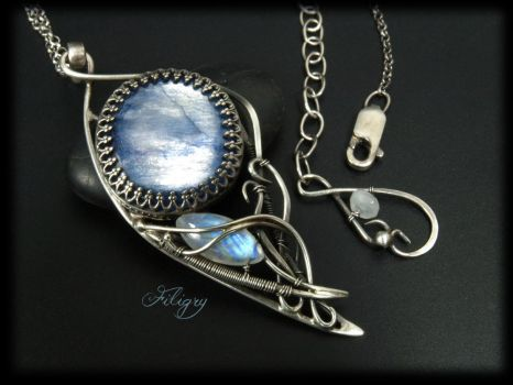 Kyanite, Rainbow Moonstone Necklace by FILIGRY