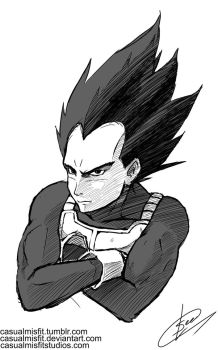 Vegeta Warm up Sketch by Casualmisfit