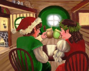 Happy Hobbit Yule - ArtRage Dec. Contest by The-Tinidril