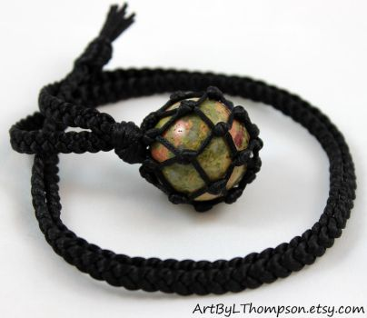 Unakite Crystal Ball Black Satin Cord Necklace by ArtByLThompson