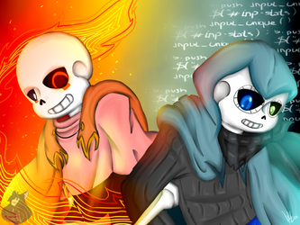 Proto!Fans and Proto!EnT!Sans - Let's fight - by draniae
