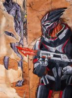 Mass Effect - Turian vs Reapers by chibicca