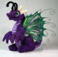 Purple Felted Fairy Dragon by The-GoblinQueen