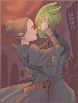 Let Vastra kiss her wife by chlove-art