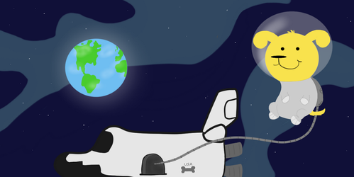 Space Pup Looks Down At The Earth (4 Years on DA) by Bordercollie15