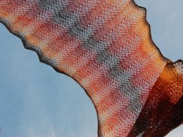 Hand Knit Lace Shawl in Autumn Colors by NitkaAG