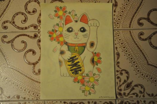 japanese cat drawing by DeviantYannick