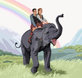 Riding An Elephant by SapphireGamgee